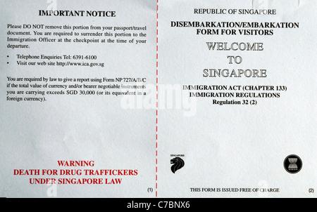 immigration form landing disembarkation card travel visa