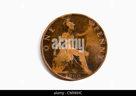 A british one penny coin from 1944 with king George VI Stock
