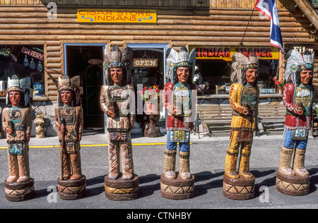 Carved Wooden Statues Of Cigar Store Indians Jackson Hole Wyoming