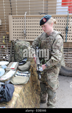 female medic in uniform Royal Army Medical Corp, training to
