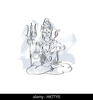 A black and white illustration of Lord Shiva in a warlike