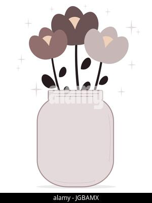 Bouquet of cartoon flowers in the vase, vector hand-drawn