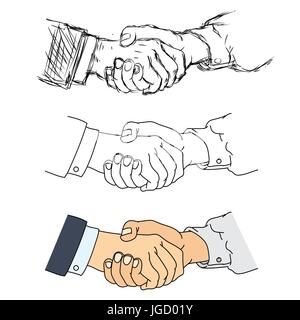 Shaking hands flat design concept  Handshake, business