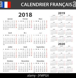 French Calendar for 2018  Scheduler, agenda or diary