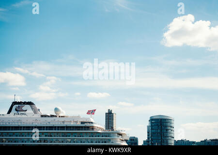 Viking Sky cruise ship moored at the Greenwich tier: London