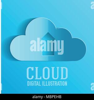 Cloud upload information on server illustration concept
