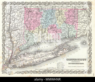 1855, Colton Map of Connecticut and Long Island Stock Photo ...