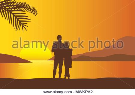 Sunrise and sunset at beach, vector and illustration icon