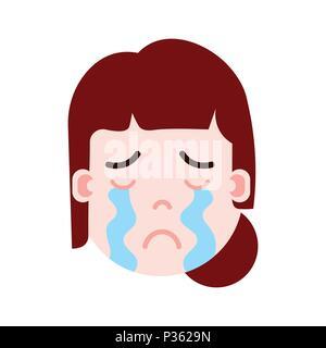 emoticon cry Emoji face woman astronaut retro Stock Photo