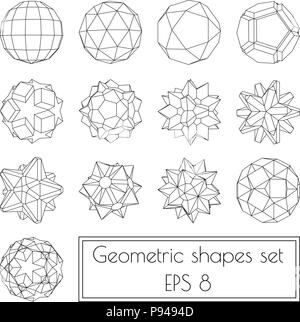 Collection of 13 3d geometric shapes Stock Vector Art & Illustration