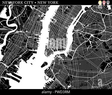 Simple Map Of New York City.New York City Usa Monochrome Map Artprint Vector Outline Version