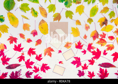 Creative Top view autumn composition - craft develope with