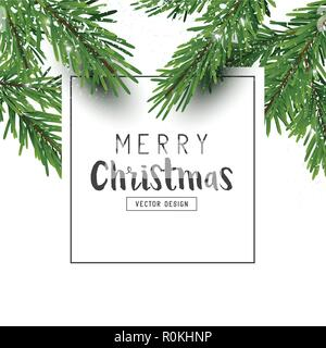 Christmas design layout composition with fir tree branches