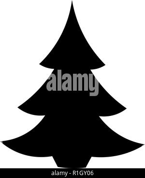 Black And White Christmas Tree Silhouette New Year Holiday Themed