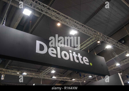 The Deloitte logo is seen during the fair  Barcelona Smart