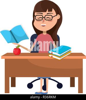 elementary school teacher on desk with books and apple