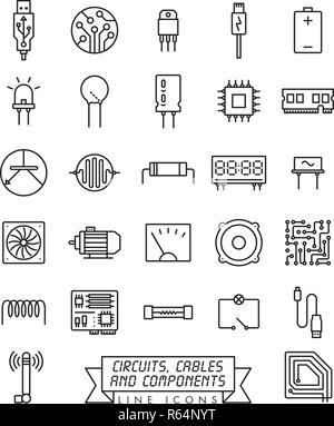 Collection of electronic components, circuits and cables
