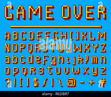 Pixel font  8-bit symbols  Digital video game style  letters