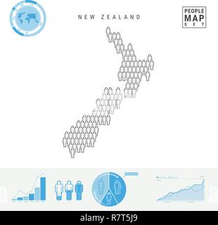 New Zealand People Icon Map  People Crowd in the Shape of a
