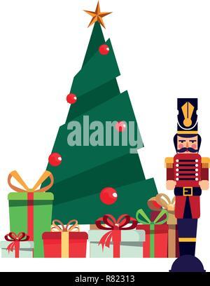 Nutcracker Christmas Tree Clipart.Christmas Design Elements Christmas Tree Snowman Gift Box