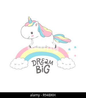 Unicorn Dream Big Rainbow Magic Poster Design  Fairy