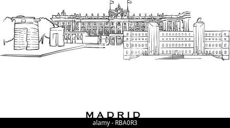 Madrid architecture vector city skyline, travel cityscape