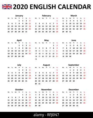 2020 year simple calendar on chinese language on black Stock