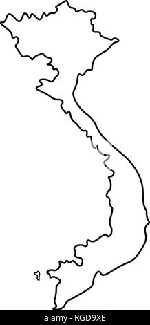 Map of Vietnam - outline  Silhouette of Vietnam map vector