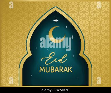 elegant line mosque and moon design for eid mubarak Stock Vector Art
