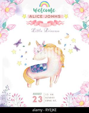 Watercolor isolated cute watercolor unicorn clipart  Nursery