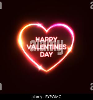 Happy Valentines day  Neon sign, banner for Valentines Day