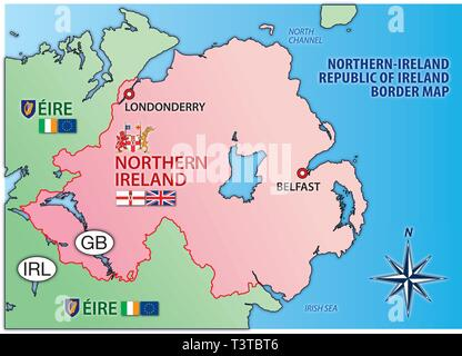 Empty Map Of Ireland.European Union Map And Flag Vector Illustration With Empty Blank