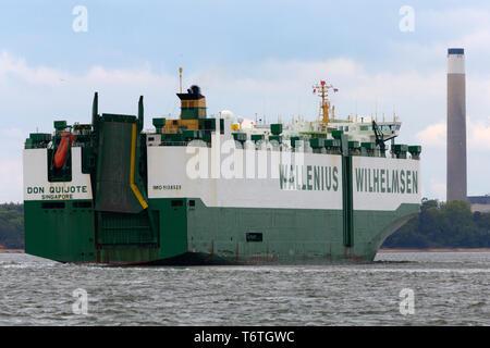 Wallenius Wilhelmsen ship in Southampton water, UK Stock
