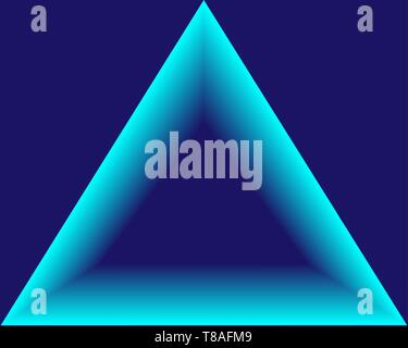 Blue neon light triangle  Gradient delta  Techno frame  Night club