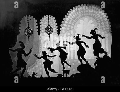 Picture from a silhouette film by Charlotte Reiniger  The