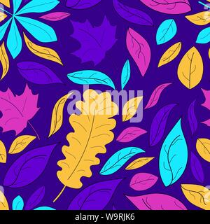 Colorful autumn leaves seamless pattern  Modern trendy