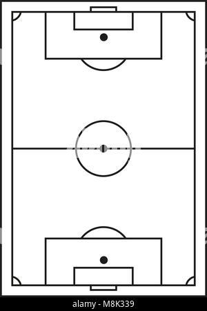 Line Art Schwarz Weissen Fussball Feld Symbol Vektor Abbildung