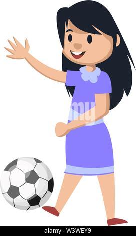 Ein Cartoon Illustration Einer Frau Fussball Spieler Gehen