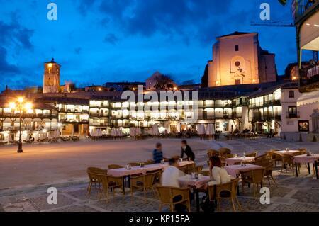Plaza Principal Vista Nocturna Chinchon Madrid Provincia
