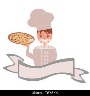 Personaje De Caricatura Pizza Y Logo De Chef Foto Imagen