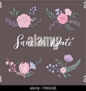 Conjunto De Tarjetas De Invitación Romántica Con Flores Una